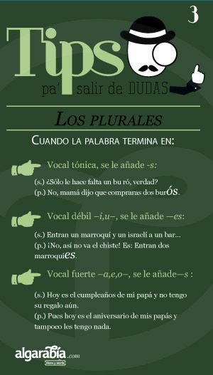 Los plurales —tercera parte— Site has numerous posters that give Tips about how to remember differences between Spanish words and phrases.