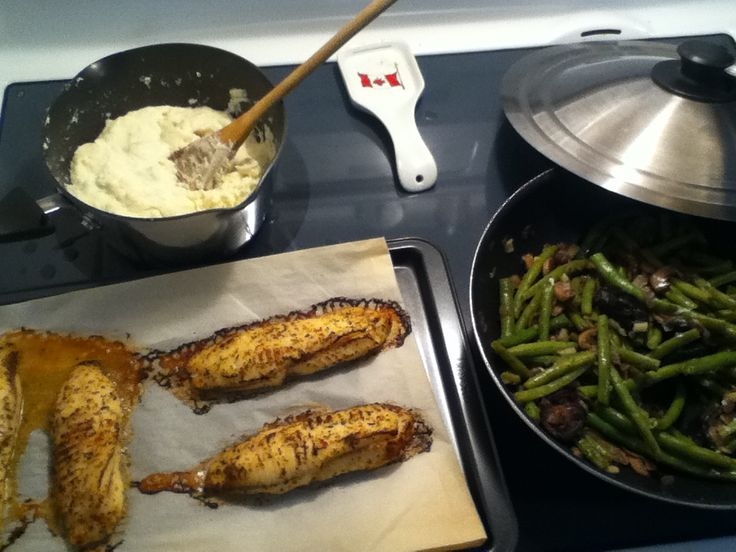 Tuscan baked lemon cod fish and garlic mash potatoes with green onions!!  Yummy   I made for supper tonight!