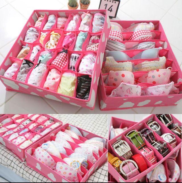 24 Cell Pink Organizer Box Underwear Ties Bra Socks
