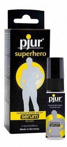 Pjur Superhero Serum Spray For Men - 20 ml fra Pjur - Sexlegetøj leveret for blot 29 kr. - 4ushop.dk - Pjur Superhero Serum er en ny innovativ spray til mænd. Den super koncentreret gel ligger sig som en film over penis hovedet og gør penis hovedet mindre sensitiv, men uden at penis hovedet er følelsesløs, hvilket mange andre produkter gør. Den nedsatte sensitivitet gør at mænd kan opnå en længere nydelse under seksuelt samvær.