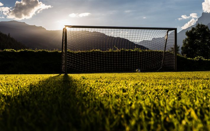 Download wallpapers football goal, training football field, sunset, football concepts