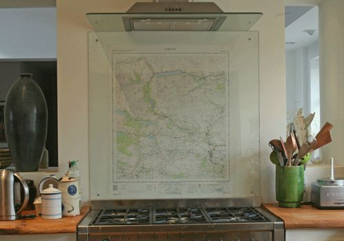 Map as splashback behind toughened glass.  Could use any map/art work & even change it from time to time.