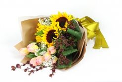 Sunflower and Tulips Bouquet #floralgaragesg #decoration #parties #love #couple #weddingday #occasions #homedecor #lifestyle #lol #inspiration #roses #bookey #flowers #nature #happybirthday #birthday #prettiness #happyme #traveldiaries #Singapore #bouquets