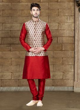 Designer Red Dupion Silk Kurta With Maroon Jacket 618889 Wedding