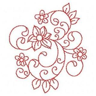 Redwork Florals - see site for more ideas