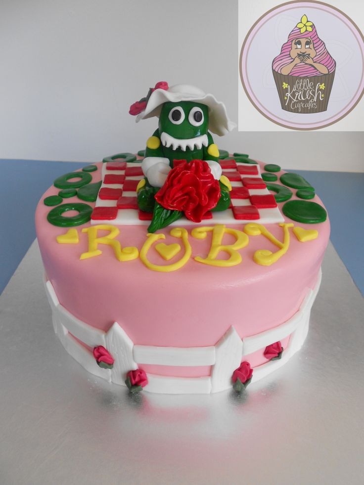 Dorothy the dinosaur cake @ https://www.facebook.com/pages/Little-Krush-Cupcakes-NZ/485728288124195