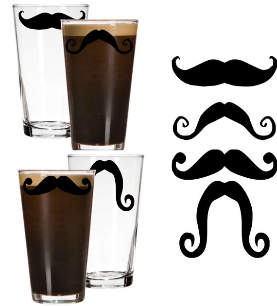 Set of 4  Moustache Modern Beer Glass  Personalized  by gotdecalz, $26.95 for the guys
