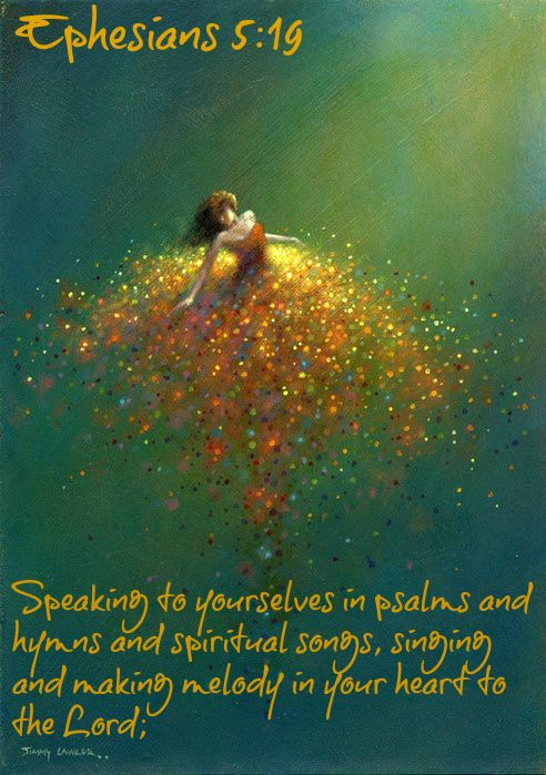 "A repin of a woman dancing and spinning in a golden Impressionistic skirt, with the following text: Ephesians 5:19 ""Speaking to yourselves in psalms and hymns and spiritual songs, singing and making melody in your heart to the Lord"""