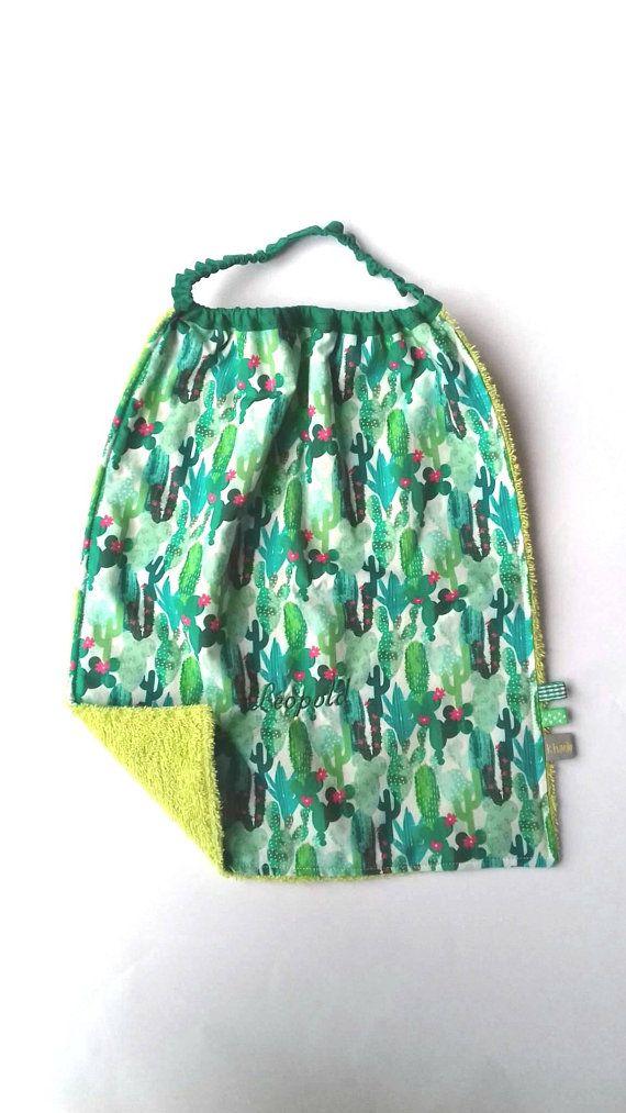 64404fff0 Cactus print toddler bib, an ideal Montessori practical life large bib for  on-trend kids! #montessoriathome #babybibs #toddlerbib #cactusprint