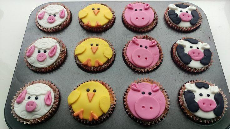Boerderijdieren cupcakes