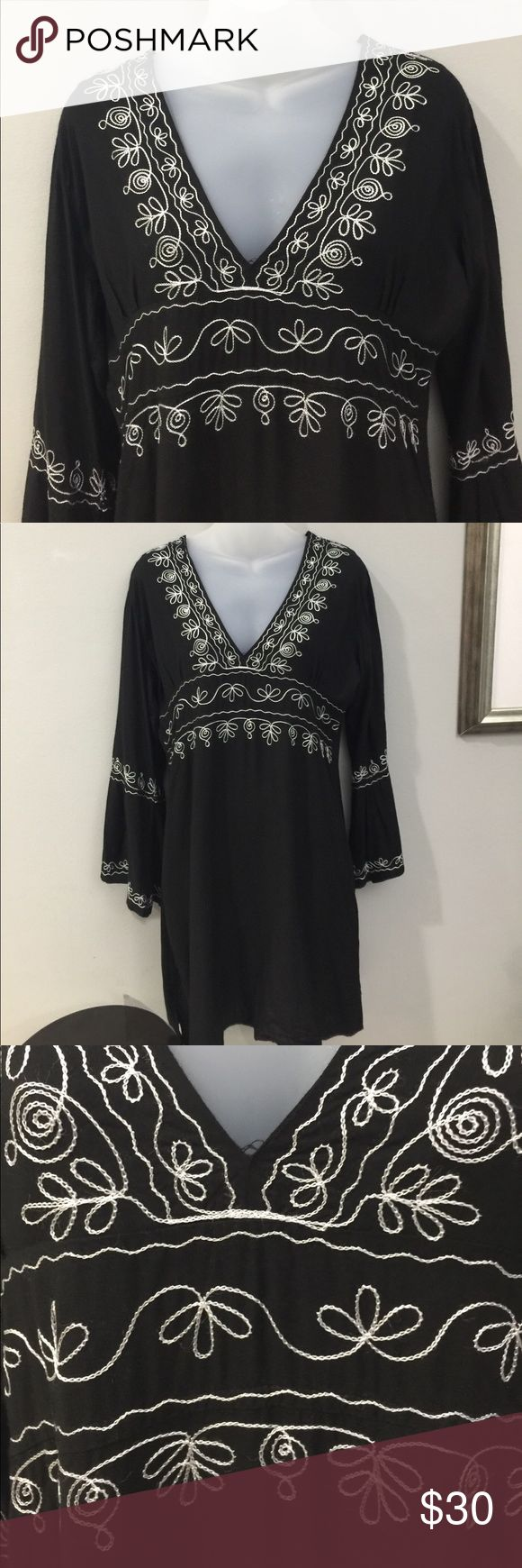 Peasant, Boho, Hippie Black Tunic Dress Like new condition, Sz Med. Can also be used as Swimsuit cover up! Soaked Dresses Midi
