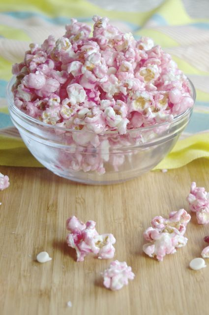 ~Salted Cotton Candy Popcorn w/White Chocolate~ An interesting combination of salty & sweet that you don't have to visit a carnival to get. (December 7th, National Cotton Candy Day)