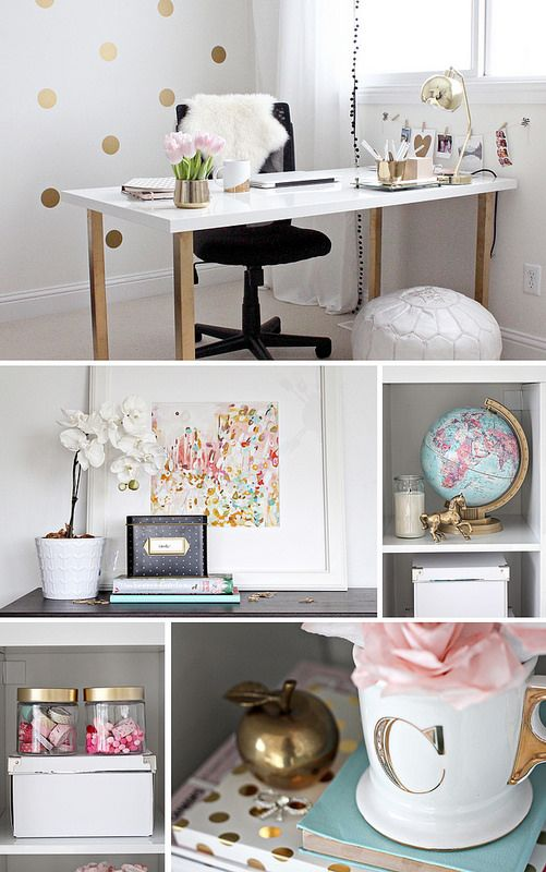 Gold Pink Home Office. Love the gold accents with the splashes of muted colours. The desk is so simple but the gold legs make it non-boring.