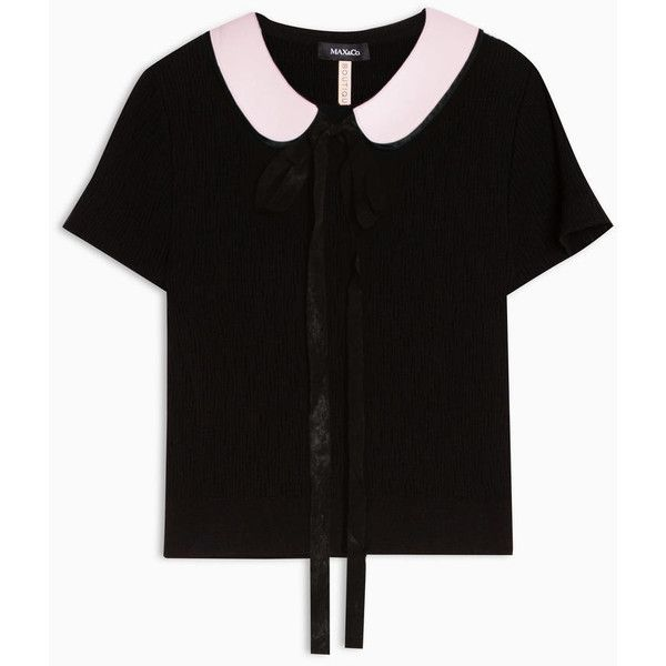 Max&Co. Knit T-shirt with collar ($145) ❤ liked on Polyvore featuring tops, t-shirts, black, fitted tops, short sleeve tops, collar top, bow top and short sleeve t shirts