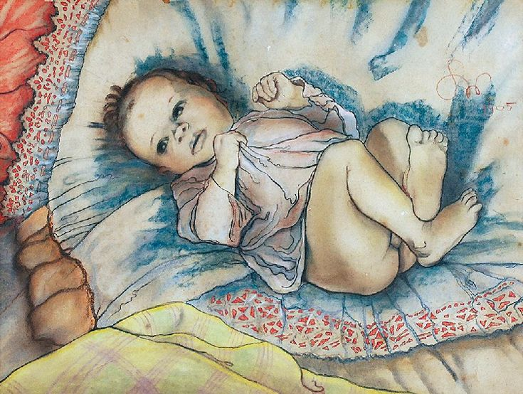 Stanisław WYSPIAŃSKI (1869-1907)  Dziecko w beciku, 1905 pastel na podrysowaniu ołówkiem, papier;  46 x 60,5 cm (w świetle oprawy); sygn. i dat. p. g.: SW / 1905