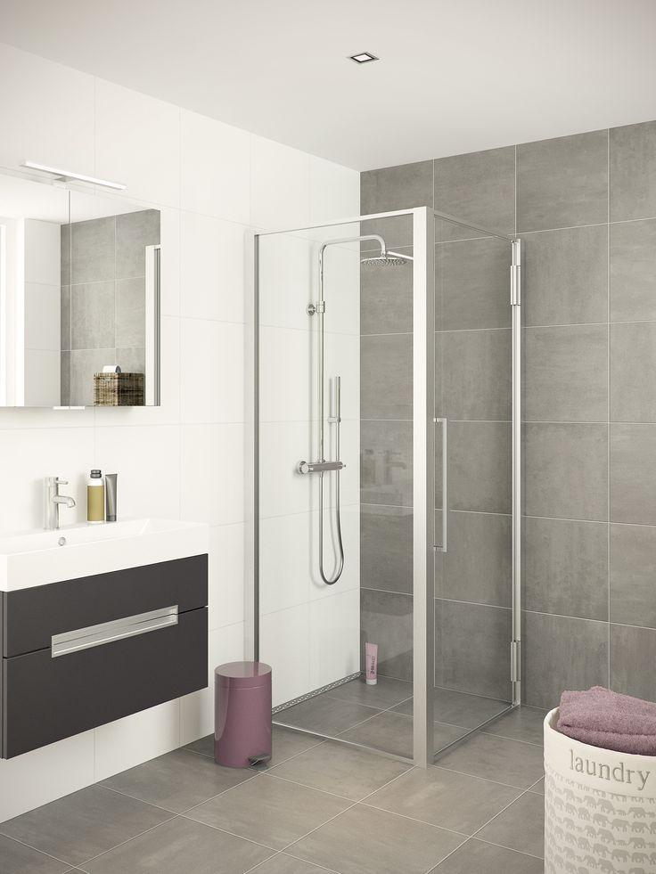 Bruynzeel zeta douchecabine badkamer idee salle de - Cabine de douche porte pivotante ...