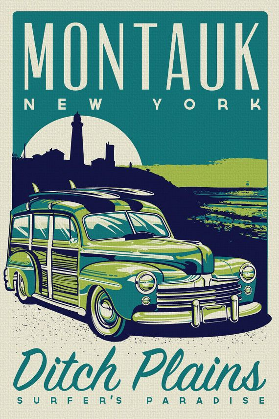 """this is 100% original artwork Montauk Ditch Plains Surfer's Paradise Retro Vintage Surf Poster Screen Print new york  hand screen printed 3 color design.  ARTWORK SIZE IS 12""""X18""""  PRINTED ON VANILLA HEAVY COLD PRESSED ARTBOARD (VERY THICK)  limited run of 50  available on etsy $24.99"""