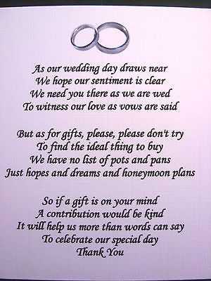 Wedding Gift Poem For Dollars : 20 Wedding poems asking for money gifts not presents Ref No 4 in Cards ...