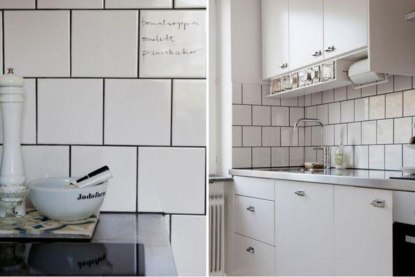 Interiors / White square tiles. Brick pattern. Graphite Grout