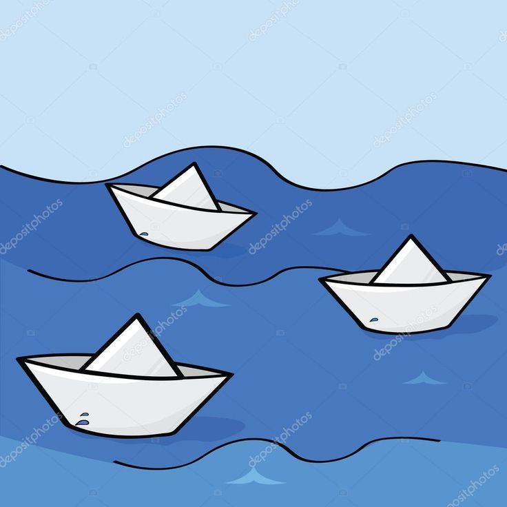 Скачать - Бумажные кораблики — стоковая иллюстрация #5592657