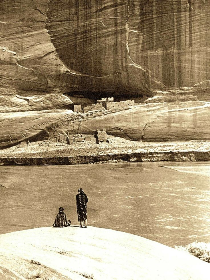 """""""Alone with the past"""". Navajo at Canyon de Chelly. Arizona. 1913. Photo by Roland W. Reed."""