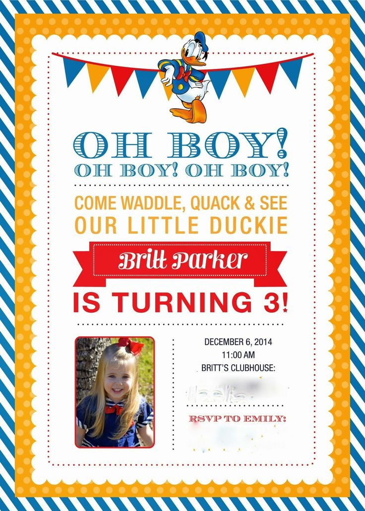 Donald Duck Birthday Party Invitation