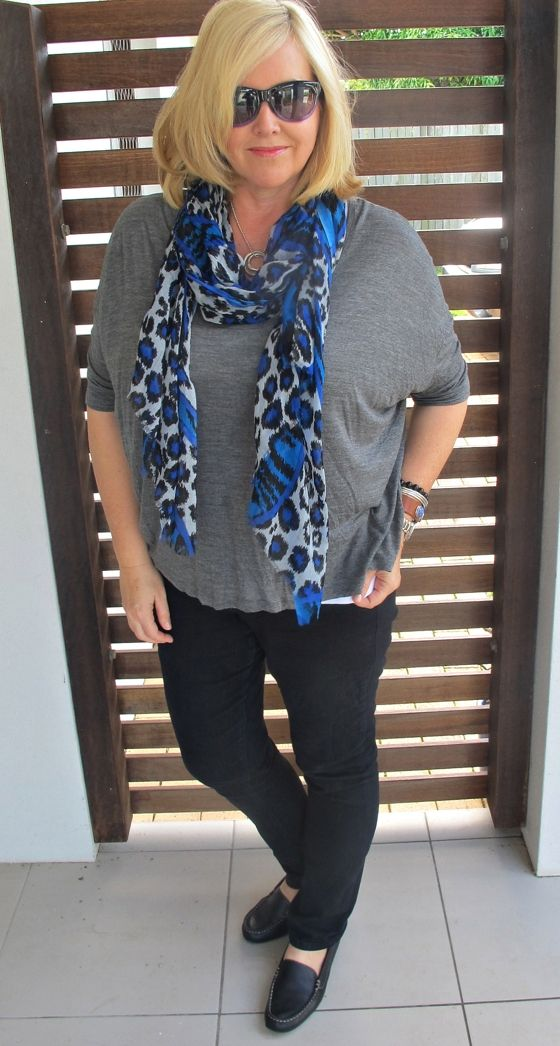 NYDJ jeans | Witchery tee | Sportscraft scarf | Maui Jim sunglasses | Rockport flats | Uberkate necklace