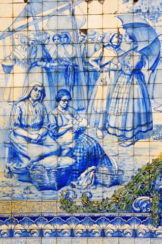 Old azulejo panel with Traditional - rural scenes in Viseu, Portugal