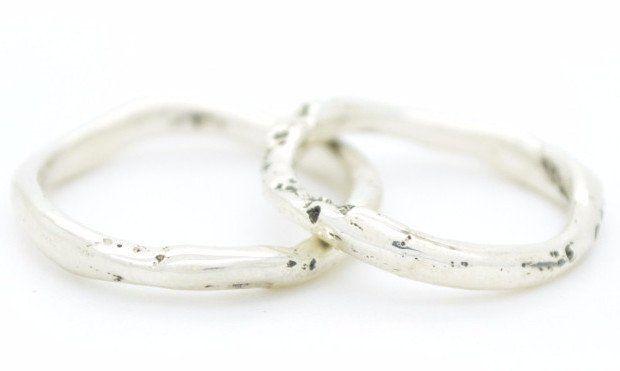 Handgemaakte organische fairtrade zilveren trouwringen