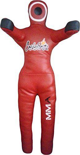 "Celebrita Italia MMA Grappling Dummy Pelle Punching Bag - In piedi mani aperte MMA357 Leather-Red 47"" Up to 35kg/77 lb"