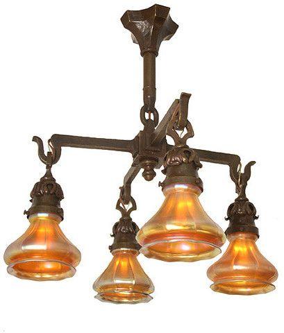 Antique Circa 4 Light Arts And Crafts Hammered Close Mount Fixture With Original Signed Steuben Gold Aurene Art Glass Shades