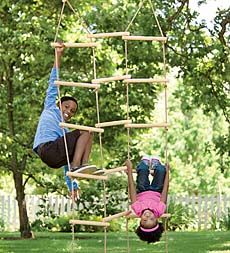 With not one but three sturdy rungs to climb and conquer, kids can now climb up, across, and diagonally! It's sure to be a well-used apparatus whether it's in the backyard or the playroom. Crafted with smoothly sanded, weather-resistant maple-wood rungs and durable rope, it will provide years of climbing enjoyment for one child or three.