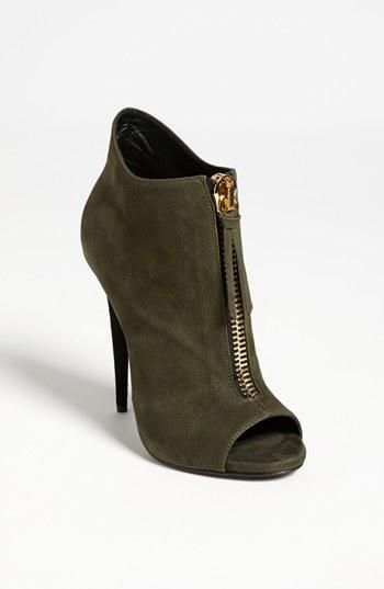 Love this olive green open toe bootie.