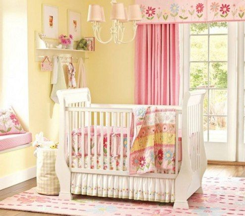 baby room for girls has less pink in it but you can still obviously see its a girls room i like the cute pink curtains and the white bed looks simply