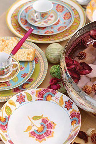 Villa d'Este Oriental Dinner Service Plates Porcelain Set of 18 Multicoloured