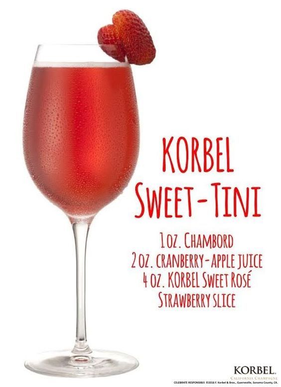 Be sweet to your sweetheart and create a sweet sipper they will love! Perfect for your next brunch date, or when you just want to show your loved one they're extra special. Pour Chambord and cranberry-apple juice into a shaker with ice. Shake and strain into a wine glass. Top with KORBEL. Garnish with a strawberry slice.