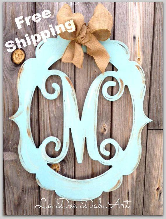 monogram door hanger, wedding monogram, letter door hanger, burlap door hanger, vintage style monogram, painted wooden monogram, distressed