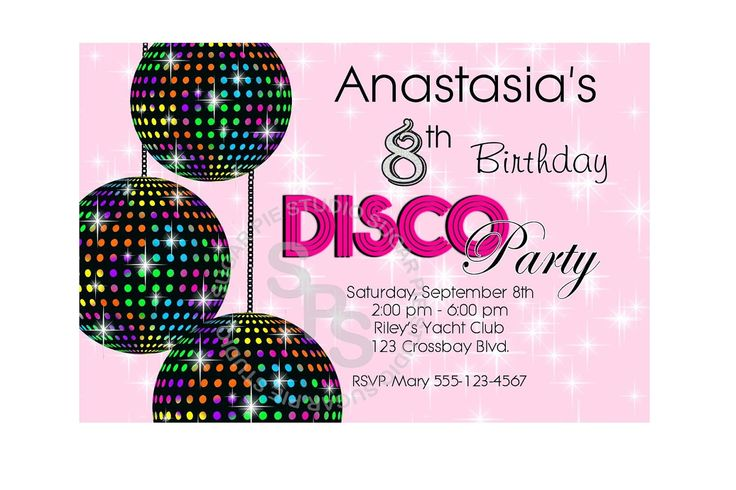Free Disco Free Party Invites For Children Lugares Para Visitar