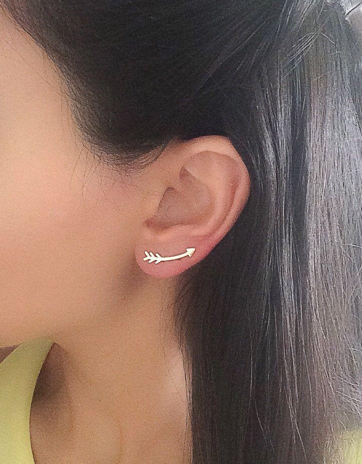 Arrow Ear Cuff, Ear Climber , Climbing Earrings, Geometric Ear Pin , Gold Ear Pin , Ear Climber Climber Earring Ear Sweep Gold , Ear Crawler by Elamese on Etsy https://www.etsy.com/listing/253567808/arrow-ear-cuff-ear-climber-climbing
