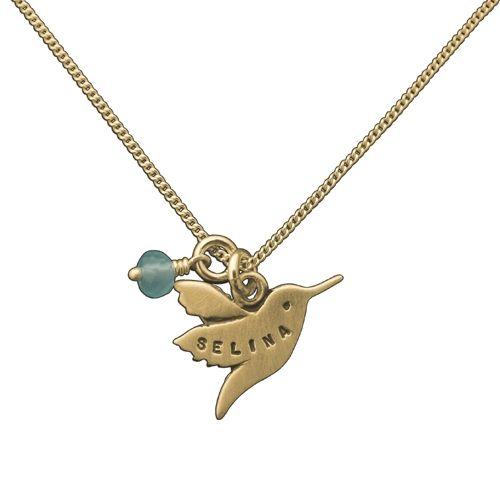 "14 Karat Gold Personalized Hummingbird Necklace, 18"""