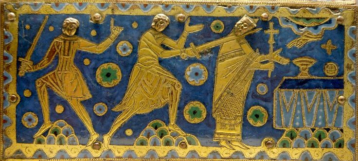The murder of Thomas Becket, detail from a reliquary in champleve enamel, Limoges Louvre