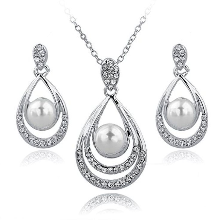 Cheap Woman Jewelry Set Gold Silver Plated Pearl Pendant Necklace Earring  #LongWay