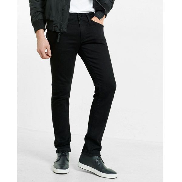 Express Skinny Black Stretch+ Jeans ($88) ❤ liked on Polyvore featuring men's fashion, men's clothing, men's jeans, pants, black, dolls, men, mens skinny fit jeans, mens super skinny stretch jeans and mens stretchy jeans