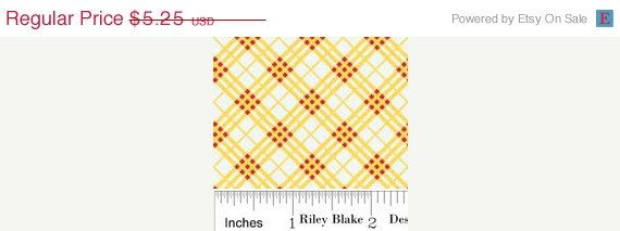 SALE YARD SALE.....Doohikey Designs for Riley Blake Fabrics. Hoo's Plaid in Yellow 1 yard total