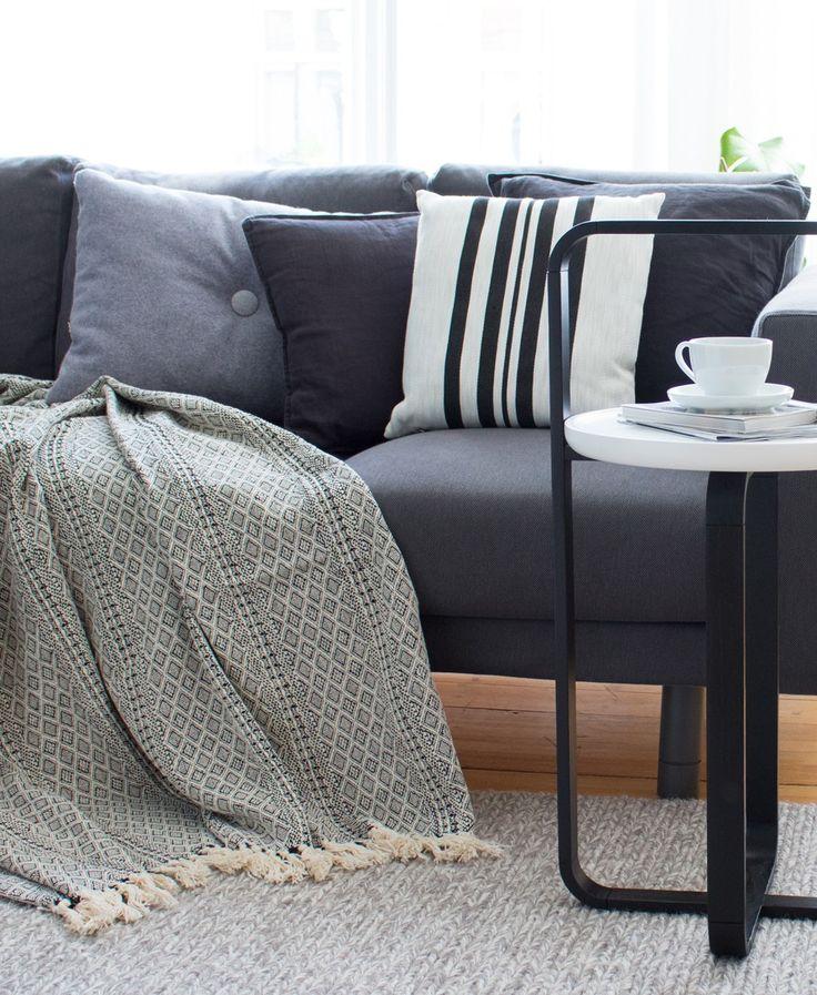 Decke Baumwolle Diamond Liv Interior Schwarz Weiß, Wohnzimmer, Wohnen, Wohntextilien