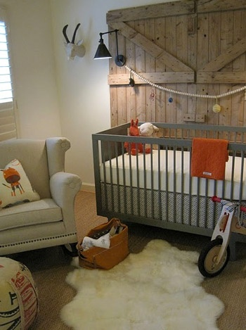 Love the barn doors and color of the crib - great boys