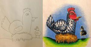 En voyage d'affaires, ce papa colore les dessins de ses enfants et leur fait la surprise à son retour