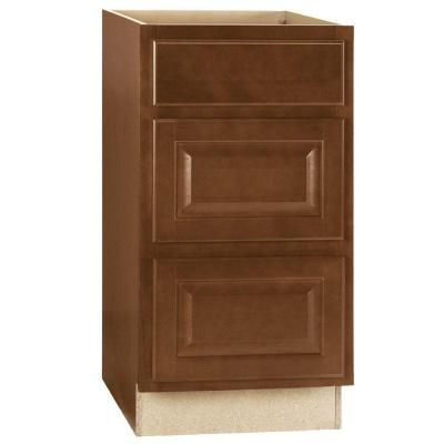Hampton Bay In Hampton Drawer Base Cabinet With Ball Bearing Drawer Glides In Cognac