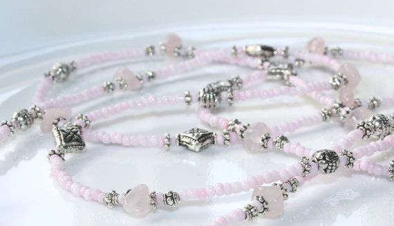 Gift for Her Pink Beaded Necklace Rose Quartz Necklace