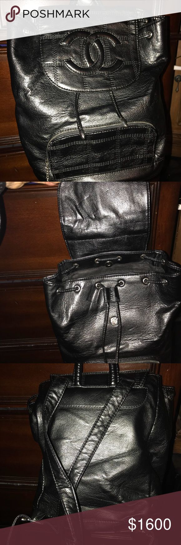 Medium size Authentic Chanel bag pack. A beautiful black authentic Chanel bag pack. Never used and comes with original documents and white bag. CHANEL Bags Backpacks